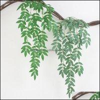Decorative Flowers Wreaths Festive Supplies & Garden1Pc Artificial Plant Ivy Green Leaf Vine Flower Rattan String Twig Wall Hanging Wedding
