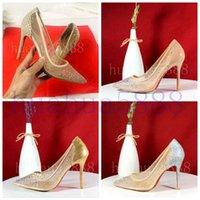 Горячая весна лето элегантные стили женские туфли горный хрусталь высокие каблуки кристаллы заостренные носки сетки насосы женщины красная подошва свадьба