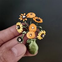 European Sunflower Potted Brooches For Knapsack Sweater Flower Badge Oil Drip Alloy Unisex Skirt Collar Pins Jewelry Fashion Accessories Wholesale