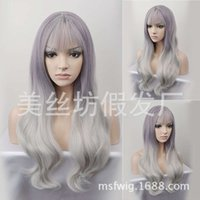 Mode violet gris changements graduels longs femmes ondulées cheveux bouclés cheveux chimiques chaude haute température de soie perruque jiafa