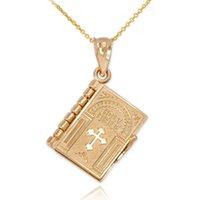 Женщины Религия Ожерелье Золото Цвет Ожереной Святой Библии Книга Кулон Ожерелья Кристиан Иудаизм Католицизм Православные Ювелирные Изделия