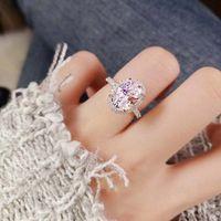 Egg White Zircon Promise Ring Engagement Wedding Band Rings For Women Jewelry