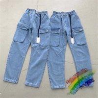 2020FW KITH Kot Erkek Kadın 1: 1 En Kaliteli Streetwear Denim Pantolon KITH Kovboy Düğme Kot C0304