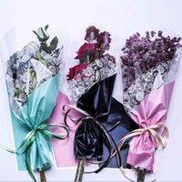 50 adet Yeni Buket Hediye Çanta Kolları Ile Şeffaf Su Geçirmez Çok Çanta Çiçek Çantası Hediye Çiçek Paketleme Malzemesi Küçük 210326
