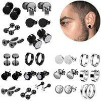 Black Stainless Steel Skull Stud Earring Set For Men Punk Gothic Earrings Jewelry