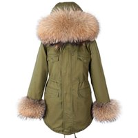 Маомаоконг натуральный реальный енот меховой воротник женские пальто Parkas женское пальто зимние женские куртки мягкие пальто 210831