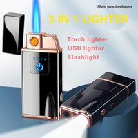 3 In 1 Torch Cigar Lighter Windproof Jet Flame Electric Tungsten USB Lighter with LED Flashlight Multifunction Creactive H0909