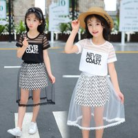 Retail girls boutique outfits summer fashion letter hollow tshirt+ruffle tulle skirt 2pcs sets 3-13Y clothing set suit kids designer clothes