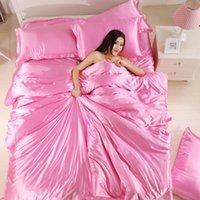 100% хорошее качество атласная шелковая постельное белье плоский сплошной цвет королева королева размера 4шт 4шт одеяло + плоский лист + наволочка Twin Size1 737 R2