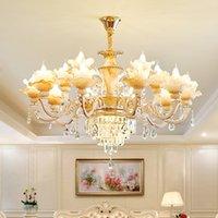 Luxo Europeu Lustre Chandelier LED Modern Jade Jade Cristal Chandeliers Luzes Luminárias Casa Indoor Iluminação 18 Lâmpadas Diâmetro 100cm 3 Cor Dimmable