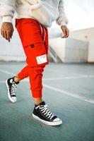 여름 남성 캐주얼 바지 바지 청소년 힙합 멀티 포켓 느슨한 대형 스포츠 휘트니스 바지