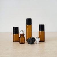 50pcs / lot 1ml 2ml 3ml 5ml Bernsteinwalzen auf Parfüm Essential Oil Rolon Flasche, Kleine Glasrollenbehälter