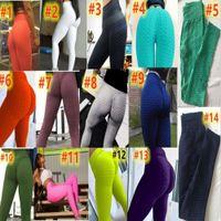 Простые Йога Леггинсы Женщины Мода Одежда Спортивная одежда Тощие Брюки Фитнес Брюки S M L XL 14 Сплошные цвета Полная длина высокая талия 4408