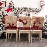 Weihnachtswäsche Stickerei ELK Stuhlabdeckung Set Restaurant Star Hotel Layout Back Stühle Weihnachtsdekorationen