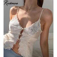Rockmore Lace Hollow out sexy tops mulheres baixo corte camis botão up y2k estética estética tanque casual noite clube espaguete cintas 210325