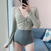 2020 Corea del Sur New One Piece Manga Larga Color Conservador Color A Matching Sexy Bikini Cover Belly Show Fin Thin Swimsuit GIRLDMC2