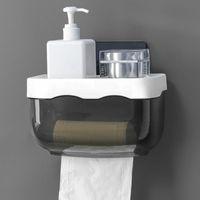Toilet Paper Holders Wall Mount Holder Waterproof Mobile Phone Storage Shelf Rack Tissue Bathroom Box Gray black
