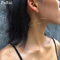 Hoop & Huggie Purui Cute Simple Butterfly Earring For Women Gold Color Punk Big Earrings 2021 Statement Jewelry Fashion Girls Ladies Gift