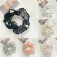 Anel de cabelo corda margarida elástica faixa de cabelo scrunchies acessórios de renda gaze intestino hairbands headdress transparente floral