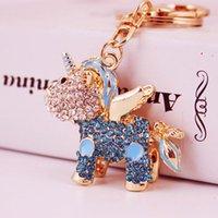 Красочные кристаллические кольца ключей Unicorn Key Keychain подвесной свадьба партия творческий подарок