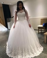 Romantic Long Sleeves Wedding Dress Princess Bridal Dresses with Beautiful Lace Appliques Ball Gown Bride Wedding Gowns casamento