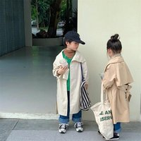 Coat Korean Style Fashion Children Solid Color Big Turn-down Collar Wind Autumn Winter Boys Girl Oversized Long Trench Jackets