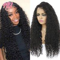 Perruques en dentelle NY Remy Cheveux Humains Vague profonde Noir Belle 28 pouces 100% Real Brown Brown Wig Perruque libre