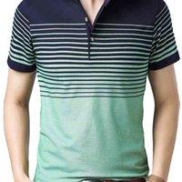 LisEnvious Camisa Polo Camisa de Negócios Escritório Mens Curto Polo Camisas Homens Roupas Listrado Camisa Casual Respirável Poloshirt 210329
