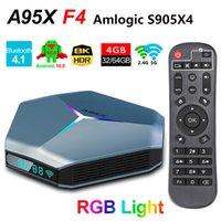 A95X F4 Android 10.0 TV Box Amlogic S905X4 8K RGB ضوء الذكية TVBox 4GB 64GB 32GB EMCP Plex الوسائط Server 2.4 جرام 5 جرام المزدوج واي فاي بلوتوث 2G 16G لاعب المنزل