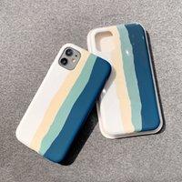iPhone 11 жидкие силиконовые чехлы оригинальные логотип с розничной коробкой Радужный дизайн для IP 12 Pro Max XR XS 8 7 6 PLUS