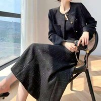 Two Piece Dress 2021 Spring Autumn Women Vintage Tweed Set Ladies Long Sleeve Blazer Pleated Skirt Suits Female Solid Office P668