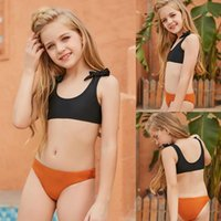 One-Pieces 2021 Meisjes Badpak Girls Holiday Cute Bowknot Solid Bikini Set Two Piece Swimsuit Bathing Suit Color Fashion