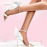La più recente moda sandalo cristallo in cristallo abbellito farfalla cinturino alla caviglia con tacco alto rivetti sandalo in pelle borchiata