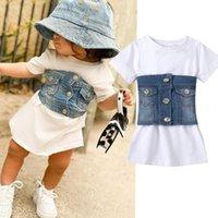 Denim Girl Vestido 2 unids Camiseta blanca Vestido + Botón Walistcoat Niños de verano Ropa para niños para vestidos de niña