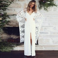 New Style Lace Sheath Wedding Dresses 2022 V Neck Sexy Front Split Bridal Gowns with 3 4 Long Sleeves Open Back Robe De Marrige