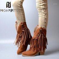 Prova Perfetto Frauen Chunky High Heel Boots Wildleder Fransen Slip auf Frauen Plattformpumpen volle Quasten Schnalle Herbst Winter Botas1