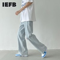 Men's Jeans IEFB Summer Wide-leg Light Blue Casual Ripped Hole Leg Denim Trousers Korean Streetwear Loose Long Pants 2021 9Y8217