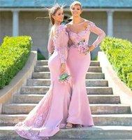 끄기 숄더 긴 소매 레이스 인어 신부 들러리 드레스 아플리케 스윕 트레인 공식 웨딩 파티 가운 플러스 사이즈