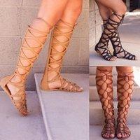 Gladiador romano Sandalias Sandalias Mujeres High Sandalias Sandalias Botas Femininas Zapatos Chicas Verano Hollow Botas de tobillo