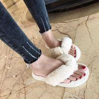 Kış Moda Kadınlar Ev Terlik Faux Kürk Sıcak Ayakkabı Kadın Flats Üzerinde Kayma Kadın Kürk Flip Floplar Pembe Artı Boyutu 44 45 Zeewes Q0508
