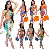 Womens Casual Two Piece Dress Fashion Trend Printing Backless Wrap Chest Tops Skirts 2pcs Sets Designer Summer Female Pleated Hips Skirt Suits