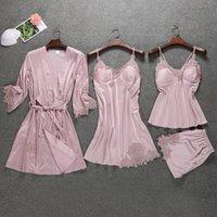 Сатиновые пижамы женские с груди колодки сексуальные женщины Pajamas кружева Slik Sleep Lounge 4 штуки Устанавливает элегантные дамы крытая одежда
