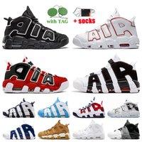 Nike Air More Uptempo Scottie Pippen رجل المرأة أحذية كرة السلة اسكواش أحمر أسود الثيران الأطواق حزمة الجامعة الأزرق UNC المدربين أعلى جودة أحذية القمح عالية الجودة