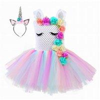 Unicornio Cosplay Baby Girl Dress Flower Rainbow Tulle Princess Vestidos Halloween Carnival Disfraz Desgaste Libre Hoop de pelo 1-8Y T150