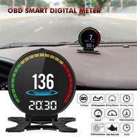 Car Video Novel-P15 Digital Speed Hud Display Speeeter OBD2 Turbo Pressure Meter Alarm Oil Water Temp Gauge Code Reader