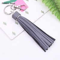 Keychains 1PC Korean Reflective Fringe PU Leather Tassel,Fur Ball Key Holder Metal Chain Keyring Charm Bag Auto Car Ring