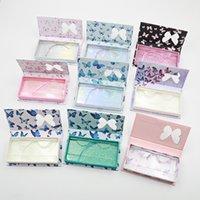 나비 창 거짓 속눈썹 상자 긴 빈 밍크 속눈썹 케이스 트레이 인쇄 핑크 포장