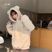 QRWR 2021 Women Hoodie Korean Style Winter Casual Cute Kawaii Warm Sweatshirt Loose Female Pocket Oversized Hoodies for Girls
