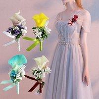 Pins, Broschen Hochzeit Calla Lily Corsage Künstliche Blume Brosche Bouquet Boutonniere Clip für Bridal White