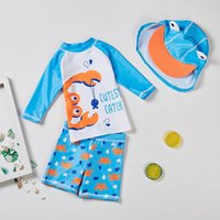 One-Pieces Baby Toddler Boys Two Pieces Swimsuit Crab Bathing Suit Rash Guards+hat Sets Summer Bikini Girl Beach Dress